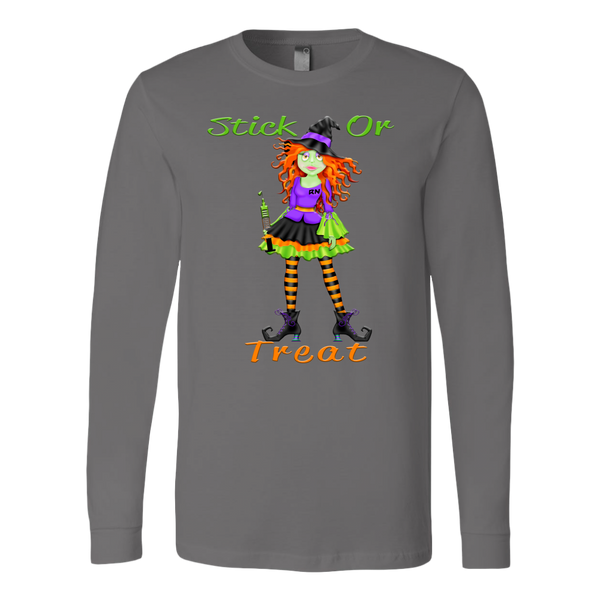 Witch Shirt | Nurse Stick or Treat Hoodie or Long Sleeve T Shirt-T-shirt-TD Gift Solutions.com