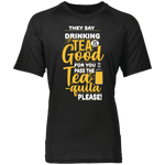 Funny Shirts | Drink More Tea-quila Raglan Sleeve Wicking Shirt-T-Shirts-TD Gift Solutions.com