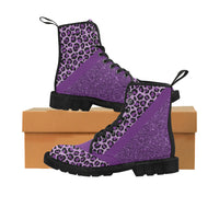 Chunky Boots | Purple Glitter Leopard Boots Martin Boots for Women (Black) (Model 1203H)-Martin Boots for Women (Black) (1203H)-TD Gift Solutions.com