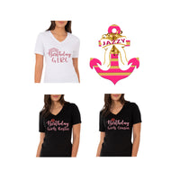 Custom Order - Birthday Girl Trio Tshirts & Anchor-TD Gift Solutions.com