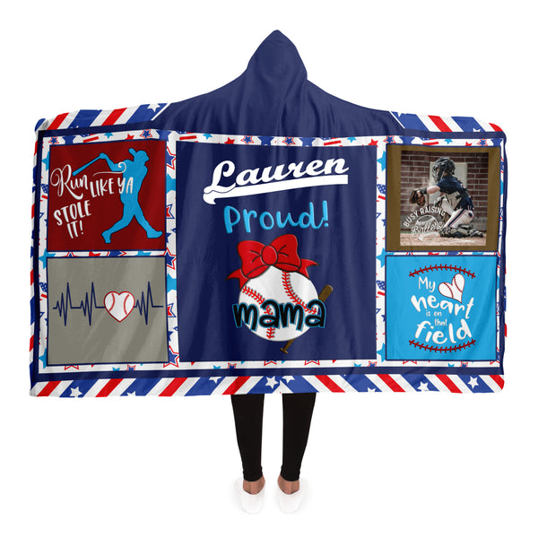 Hooded Blanket | Personalized Multi-color Baseball Mama Hooded Blanket-TD Gift Solutions.com