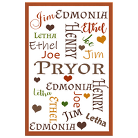 Home Decor | 8 x 12 Earth Tones Personalized Family Word-Art Canvas - Canvas Wall Art