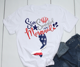 Gifts For Her | Star Spangled Mermaid T-Shirt | Mermaid Tail - TD Gift Solutions.com