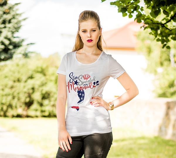 Mom Gifts | Star Spangled Mermaid T-Shirt | Mermaid Tail-T-shirt-TD Gift Solutions.com