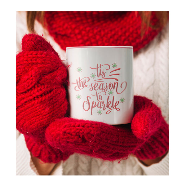 White Mug | Tis The Season To Sparkle Accent Mug-Drinkware-TD Gift Solutions.com