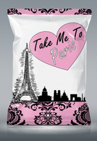 Custom Paris Chip Bags - Paris Themed Chip Bag Favors - Chip Bag Favors