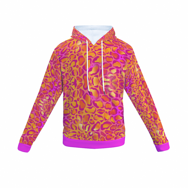 Pink Leopard Print Hoodie | Pink Leopard All Over Print Hoodie-All Over Print Hoodie with Pockets-TD Gift Solutions.com