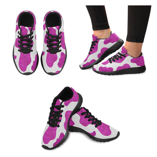 Cow Lovers | Pink Glitter Cow Print Sneakers-Women's Running Shoes (020)-TD Gift Solutions.com