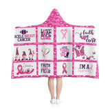Throw Blanket | Hope Strength Love Breast Cancer Awareness Hooded Blanket-All Over Prints-TD Gift Solutions.com