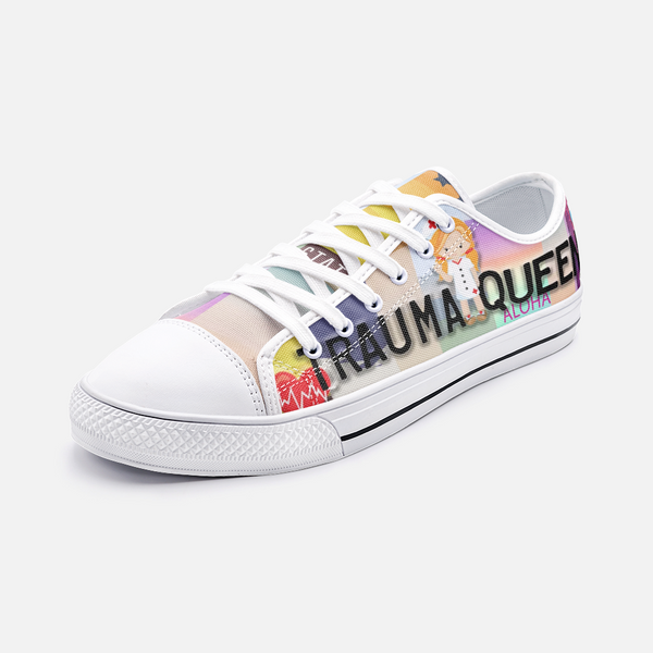 Nurse Gift Ideas | Printed Trauma Queen Nurse Low Top Sneakers-TD Gift Solutions.com