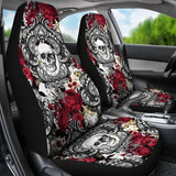 Gothic Skull and Red Roses Universal Bucket Seat Covers-Car Seat Covers-TD Gift Solutions.com