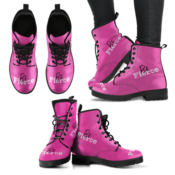 Pink Boots | Be Fierce - Black & Pink Leather Boots-Chunky Boots-TD Gift Solutions.com