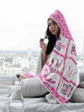 Hooded Blanket | Hope Strength Love Breast Cancer Awareness Throw Blanket-Throw Blankets-TD Gift Solutions.com