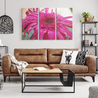 54x36 Three Piece Pink Flower Canvas | The Art Of Pink-Canvas Wall Art Set 3-TD Gift Solutions.com