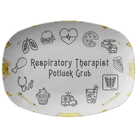 White and Gold Patterned Serving Platter | Respiratory Therapy Serving Platter | Respiratory Therapy Potluck Grub - Dinnerware
