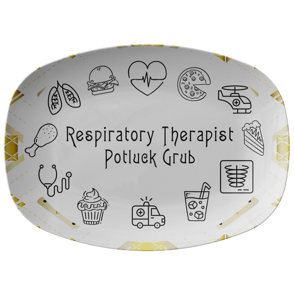 White and Gold Patterned Serving Platter | Respiratory Therapy Serving Platter | Respiratory Therapy Potluck Grub - TD Gift Solutions.com