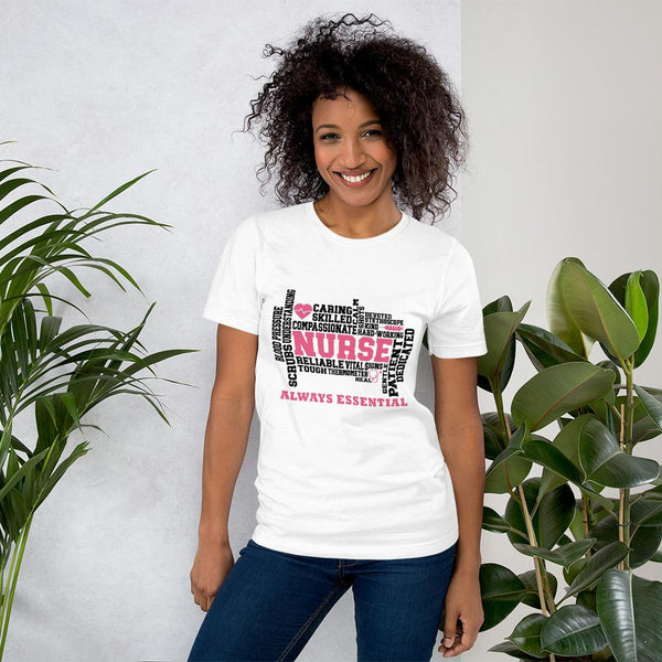 Pink Nurse Always Essential Word Art-T-Shirt-TD Gift Solutions.com