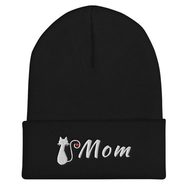 Accessories |Cat Mom Cuffed Beanie-Beanie-TD Gift Solutions.com