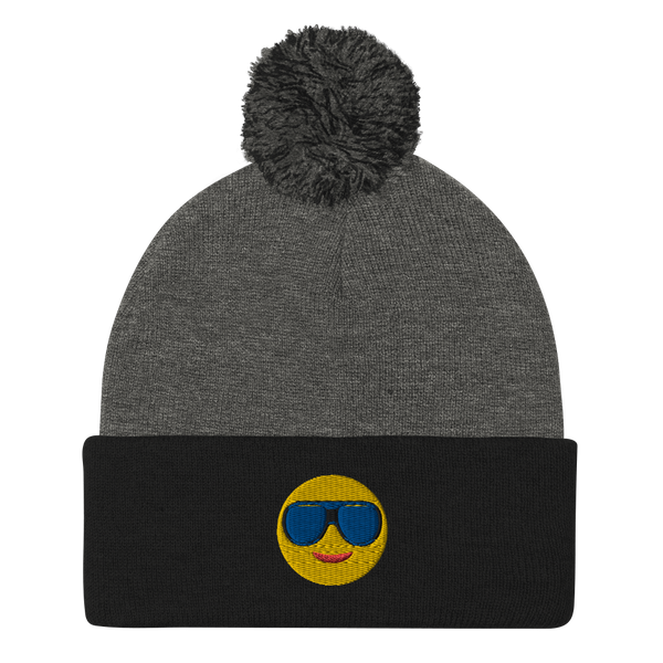 Embroidered Sun Glass Emoji Pom-Pom Beanie-Beanie-TD Gift Solutions.com
