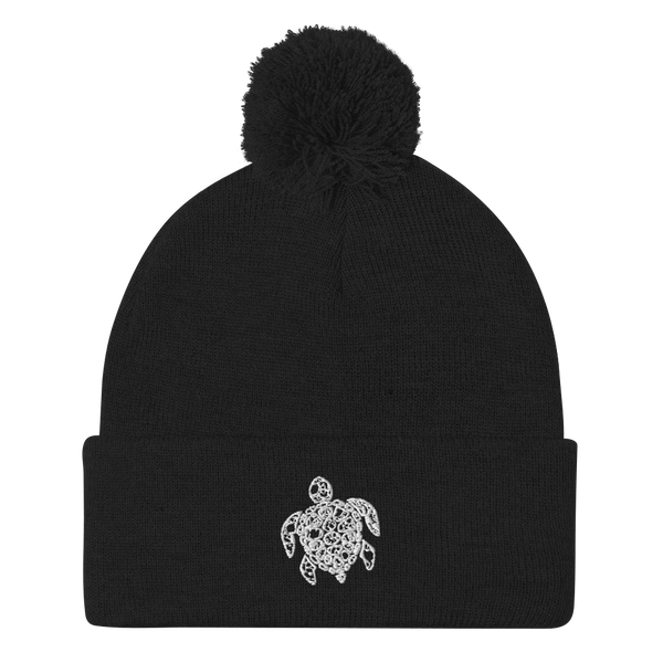 Accessories | Embroidered Turtle Pom-Pom Beanie-Beanie-TD Gift Solutions.com