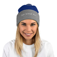 Black Beanie | Personalized Initial Beanie With A Pom-Beanie-TD Gift Solutions.com
