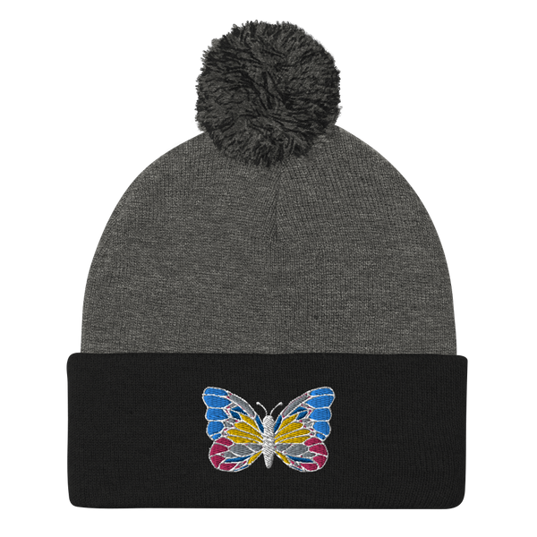Accessories | Embroidered Butterfly Pom-Pom Beanie-Beanie-TD Gift Solutions.com