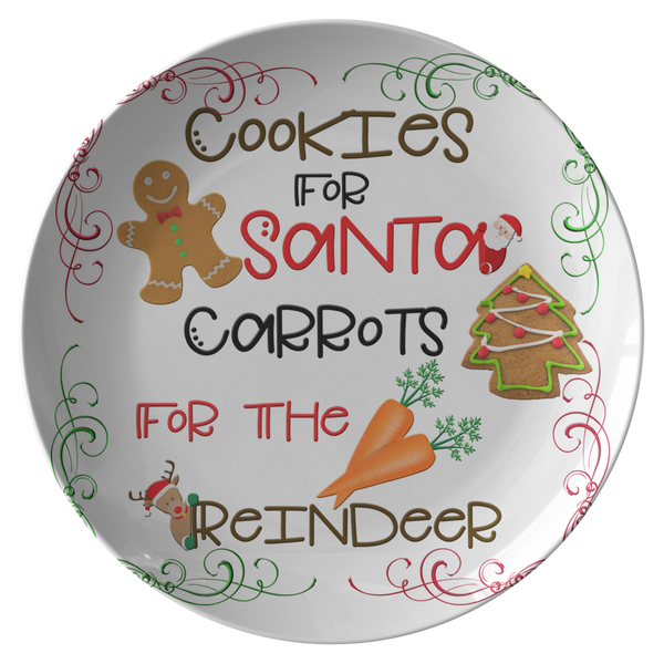 Cookies For Santa Carrots For The Reindeer | Leave Cookies For Santa | Santa Cookie Plate - Dinnerware