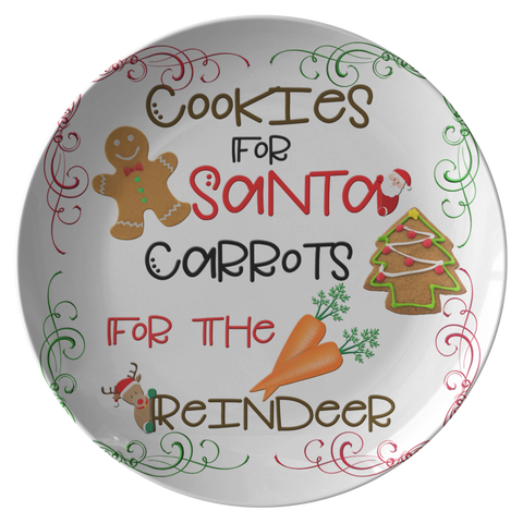 Cookies For Santa Carrots For The Reindeer | Leave Cookies For Santa | Santa Cookie Plate-Dinnerware-TD Gift Solutions.com