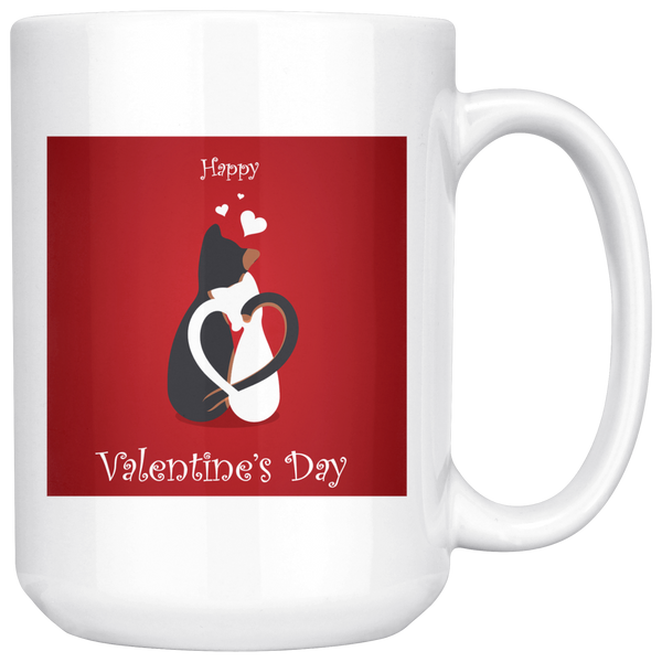 Cat Mug | 15 oz Happy Valentines Day Cat Mug-Drinkware-TD Gift Solutions.com
