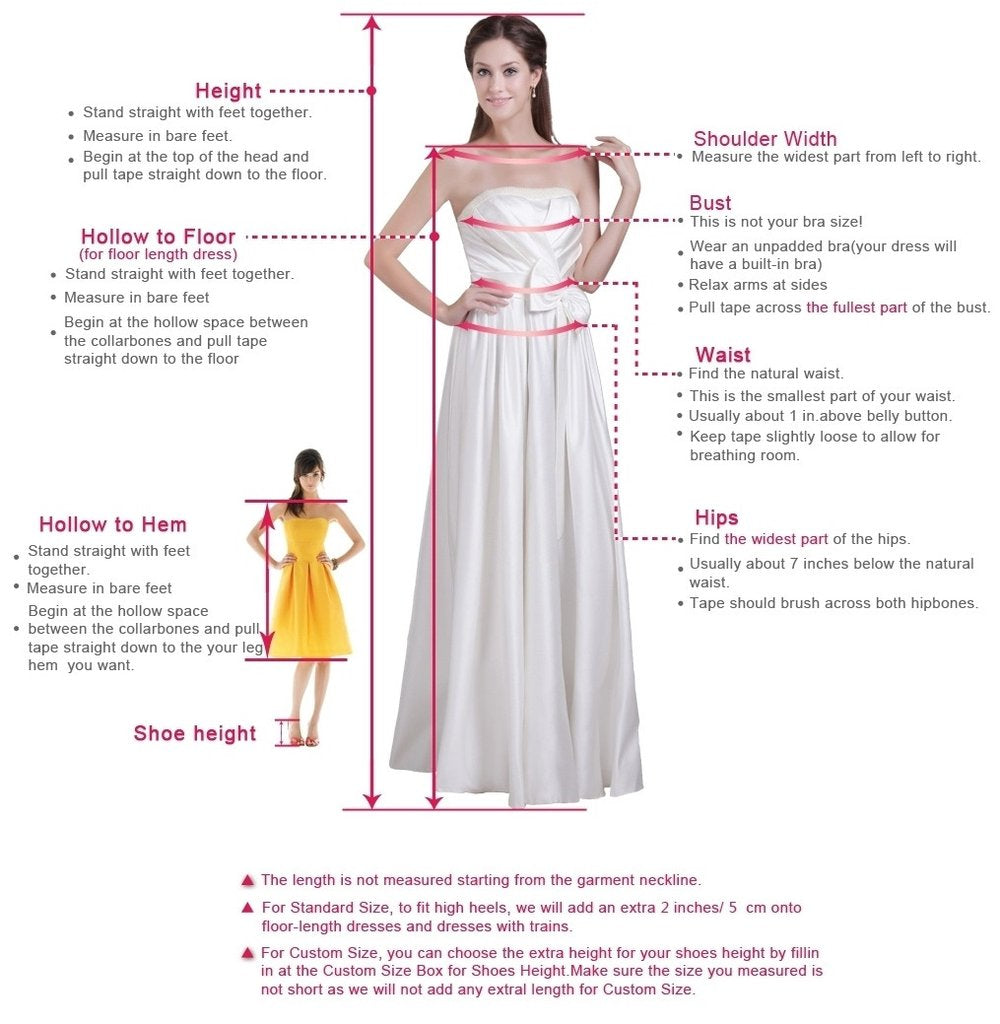 Measurement guide for prom dresses, homecoming dresses, wedding dresses of simidress.com