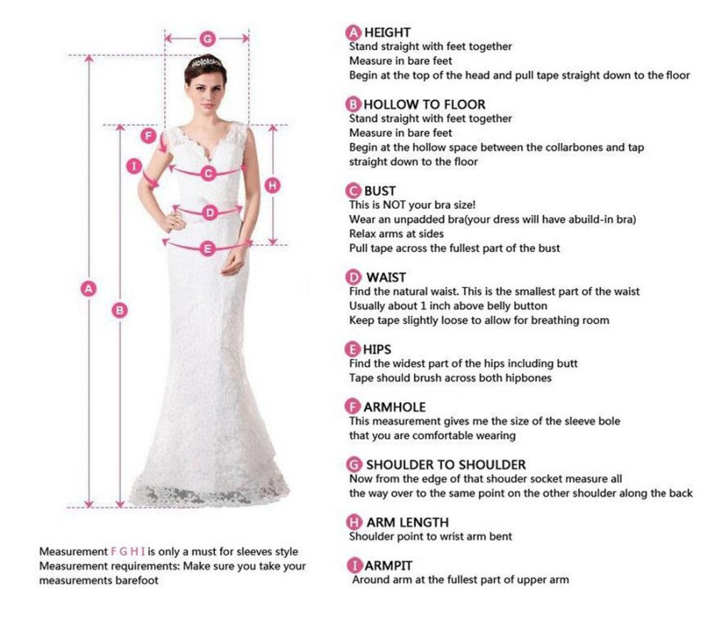 Measurement guide for long sleeve dresses on www.simidress.com