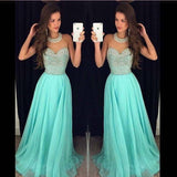 Chiffon O Neck Prom Dresses with Beading,Fashion Party Dresses,Evening Gowns,M65