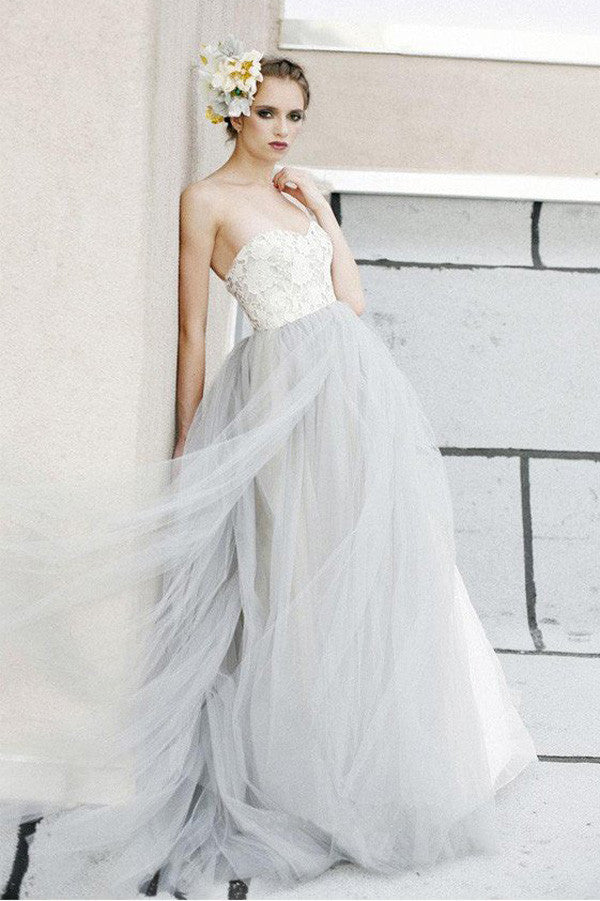 White A Line Lace Grey Tulle Strapless Sweetheart Neck