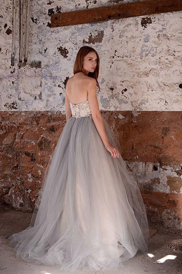 White A-line Lace Grey Tulle Strapless Sweetheart Neck Wedding Dresses, SW21