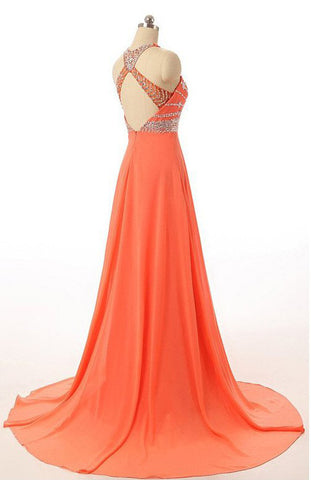 Orange Long Prom Dresses, Chiffon Open Back Prom Gowns With ...