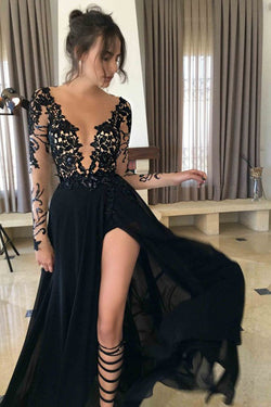 Fashion Black Long Sleeve Lace Prom Dress, Black Evening Dresses,Party Dresses