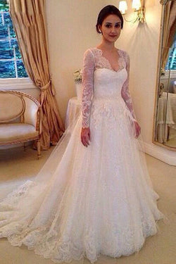 A-line Long Sleeves Court Train Wedding Dresses, V-neck Wedding Gowns With Appliques, MW31