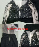 Fashion Black Long Sleeve Lace Prom Dress, Black Evening Dresses,Party Dresses, M48