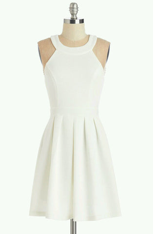 White Halter Strapless Homecoming Dress,Simple Short Prom Dress