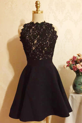 Black Halter Strapless Homecoming Dress,Appliques Short Prom Dress