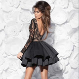 Black Boat Long Sleeve Short Prom Dress,Ball Gown V Back Appliques Homecoming Dress,Party Dress SH178