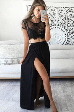 Two Pieces Short Prom Dresses, Sleeve Sexy Side Slit Black Lace Long Prom Gowns, M45