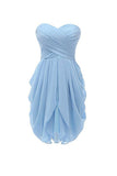Homecoming Dresses, Strapless Chiffon Short Bridesmaid Dresses Prom Gowns, SH69