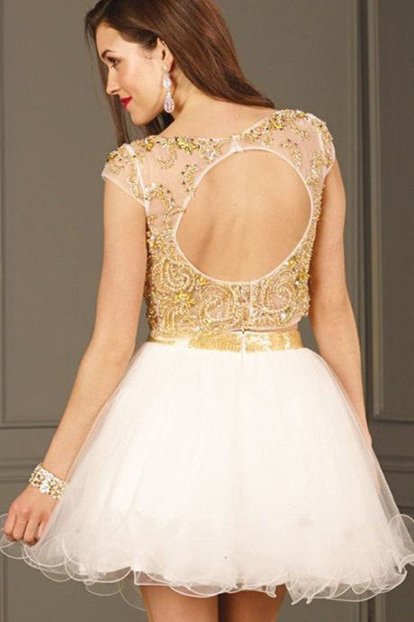 Decent 2 Piece Homecoming Dress,Cap Sleeves Crystals Homecoming Dresses,SVD556