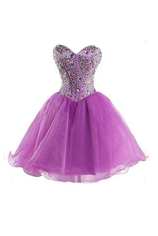 Purple Sweetheart Homecoming Dresses, Short Cocktail Dress Prom Dresses