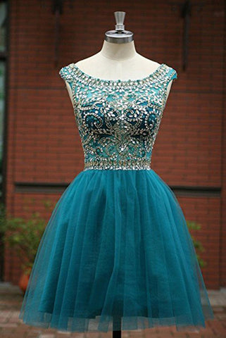 Short Prom Dresses, Tulle Scoop Neckline A Line Homecoming Dresses