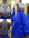 Charming A-line Ball Gown Royal Blue Beading Top Two Piece Prom Dresses M218