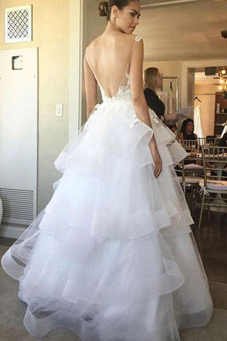 See Through Wedding Dresses.Lace Appliqued Bridal Gown Ivory Organza Backless See Through Wedding Dress Sw24