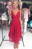 Simple Red A-line V-neck Spaghetti Straps Lace Bridesmaid Dresses, BD092