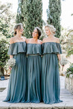 simidress.com offer Slate Gray Mismatched Chiffon Off Shoulder Cheap Long Bridesmaid Dresses, BD093